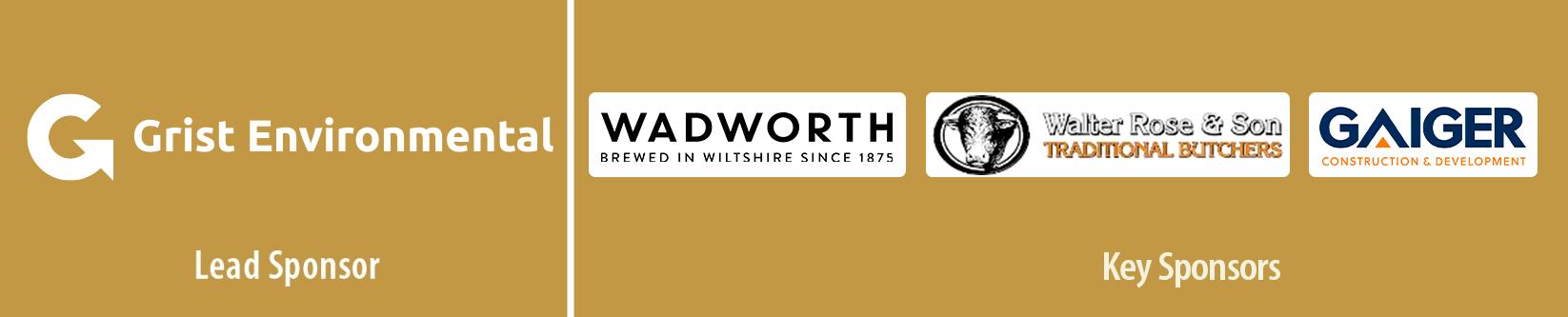 Sponsor logos - Devizes Arts Festival 2021: Grist Environmental, Wadworth Brewery, Walter Rose butchers, Gaiger Construction